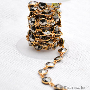 Pyrite 10mm Round Gold Plated Bezel Connector Chain - GemMartUSA