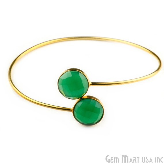 Gold Plated 12mm Round Shape Adjustable Gold Plated Stacking Bangle Bracelet (19003-1)