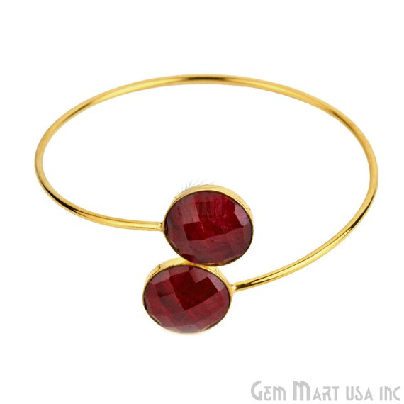 Round Shape Double Gemstone Adjustable Gold Plated Bangle Bracelet (Choose Gemstone)
