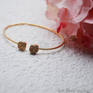 Druzy Gold Plated 8mm Cushion Shape Adjustable Bangle Bracelet (Pick Color) - GemMartUSA