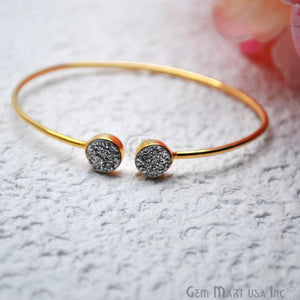 Druzy 8mm Round Shape Adjustable Gold Plated Bangle Bracelet (Pick Color)