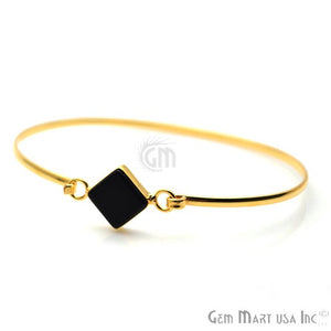 Gold Plated 10mm Square Shape Adjustable Bangle Bracelet (Pick Your Stone)