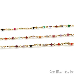 Multi Colour Stone 2-2.5 Tiny Beads Gold Plated Rosary Chain - GemMartUSA