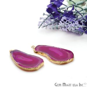 Agate Slice 42x20mm Organic Gold Electroplated Gemstone Earring Connector 1 Pair - GemMartUSA