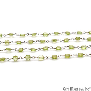 Peridot Faceted 3-4mm Silver Wire Wrapped Rosary Chain