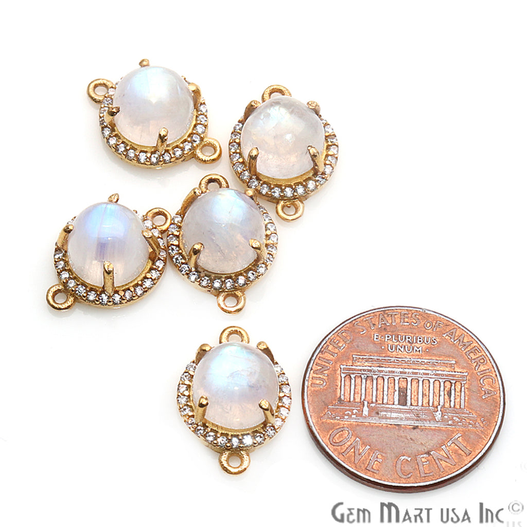 Rainbow Moonstone Cabochon with Cubic Zirconia 8mm Round Gold Plated Double Bail Connector
