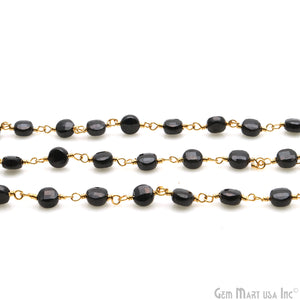 Black Spinel Faceted 3-4mm Gold Wire Wrapped Rosary Chain