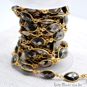 Pyrite 12x8mm Pears Gold Pear Bezel Continuous Connector Chain - GemMartUSA