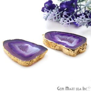 Agate Slice 28x42mm Organic  Gold Electroplated Gemstone Earring Connector 1 Pair - GemMartUSA