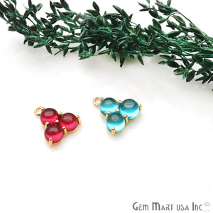 Gemstone 16x13mm Prong Setting Gold Plated Component Connector (Pink Stone) - GemMartUSA