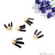 Black Tourmaline 26x16mm Gemstone 3 Bars Gold Electroplated Necklace Pendant