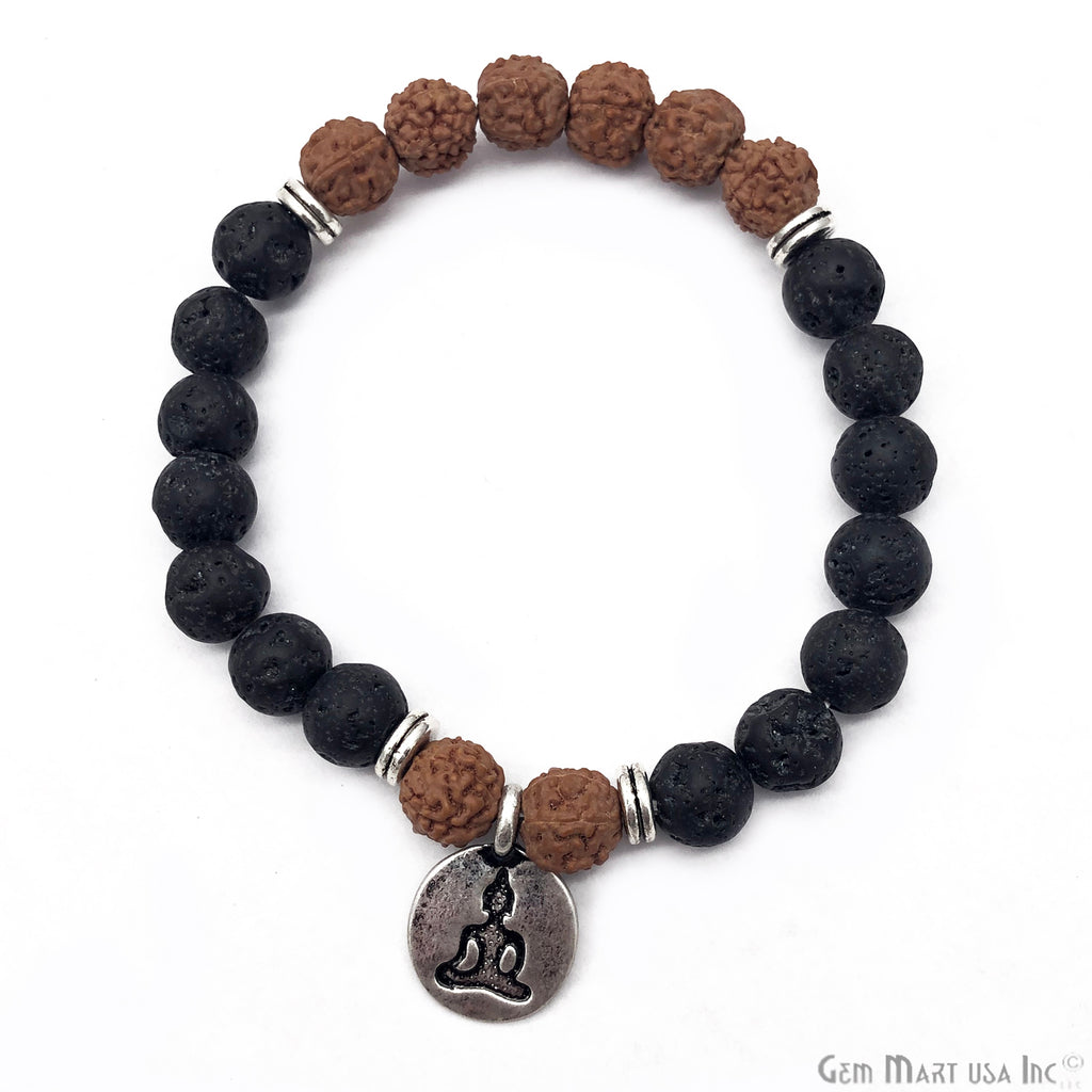 Elaeocarpus Ganitrus or Rudraksha and Black Lava Beaded Buddha Charm bracelet