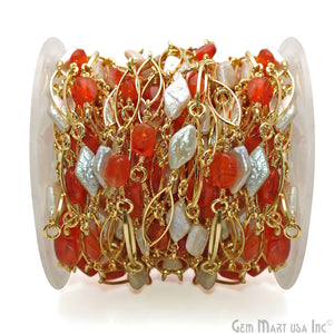 Carnelian & Pearl With Gold Marquise Finding Rosary Chain