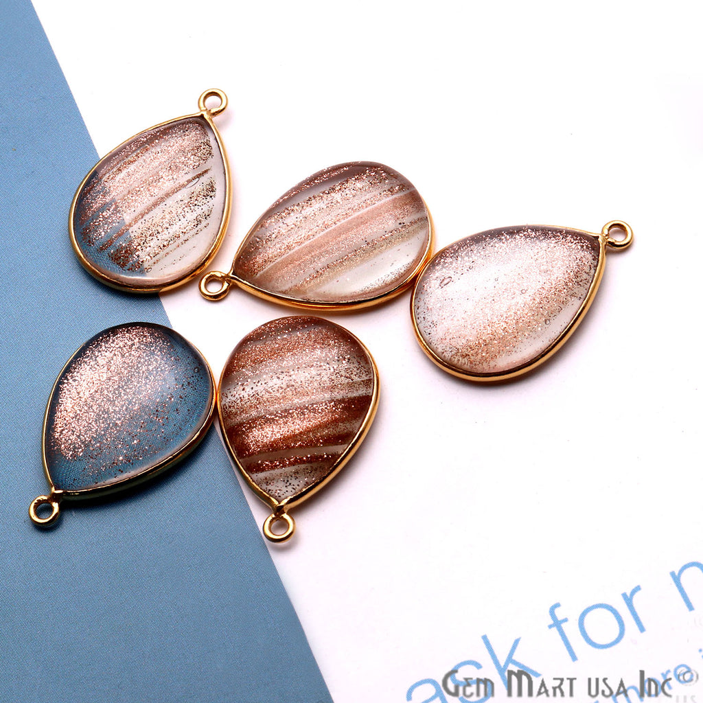 Copper Infused Cabochon 15x20mm Pears Gold Bezel Connector