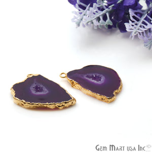 Agate Slice 20x28mm Organic Gold Electroplated Gemstone Earring Connector 1 Pair - GemMartUSA
