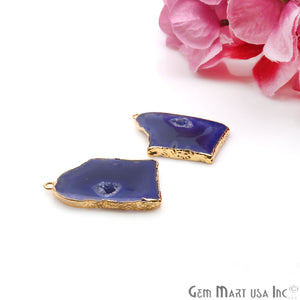 Agate Slice 23x33mm Organic Gold Electroplated Gemstone Earring Connector 1 Pair - GemMartUSA