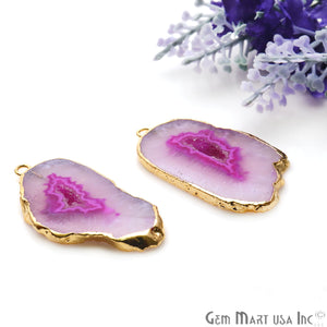 Agate Slice 38x20mm Organic Gold Electroplated Gemstone Earring Connector 1 Pair - GemMartUSA