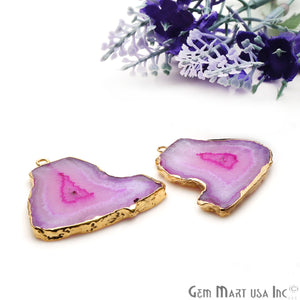 Agate Slice 33x32mm Organic Gold Electroplated Gemstone Earring Connector 1 Pair - GemMartUSA