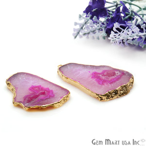 Agate Slice 44x26mm Organic Gold Electroplated Gemstone Earring Connector 1 Pair - GemMartUSA