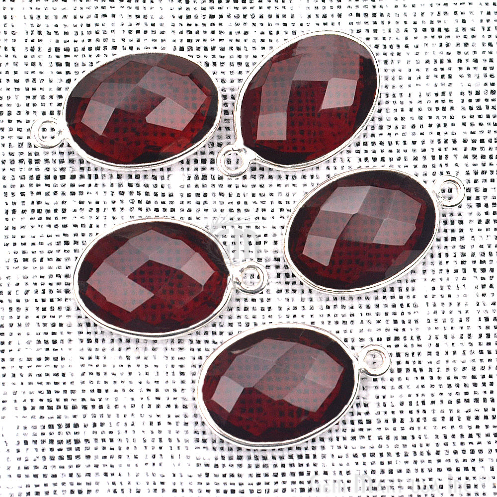 Garnet 10x14mm Oval Gemstone Bezel Connector