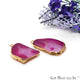 Agate Slice 17x31mm Organic Gold Electroplated Gemstone Earring Connector 1 Pair - GemMartUSA