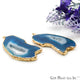 Agate Slice 27x55mm Organic Gold Electroplated Gemstone Earring Connector 1 Pair - GemMartUSA