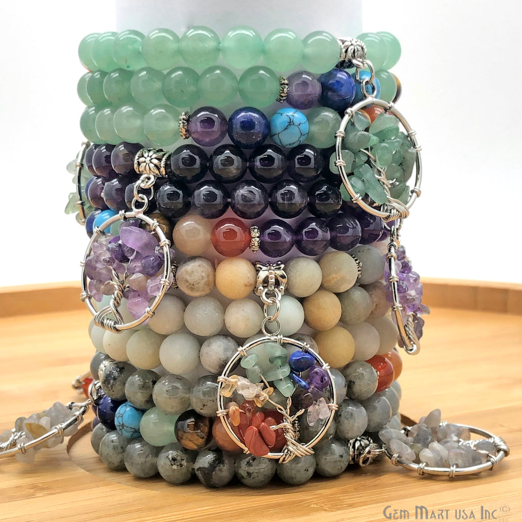 Tree of Life Beaded Gemstone Bracelet (Pick Your Gemstone)