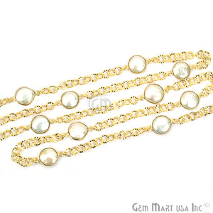 Pearl 10mm Round Gold Plated Bezel Connector Chain - GemMartUSA