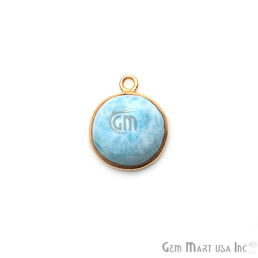 Larimar Cabochon Gemstone 16x14mm Gold Plated Connector