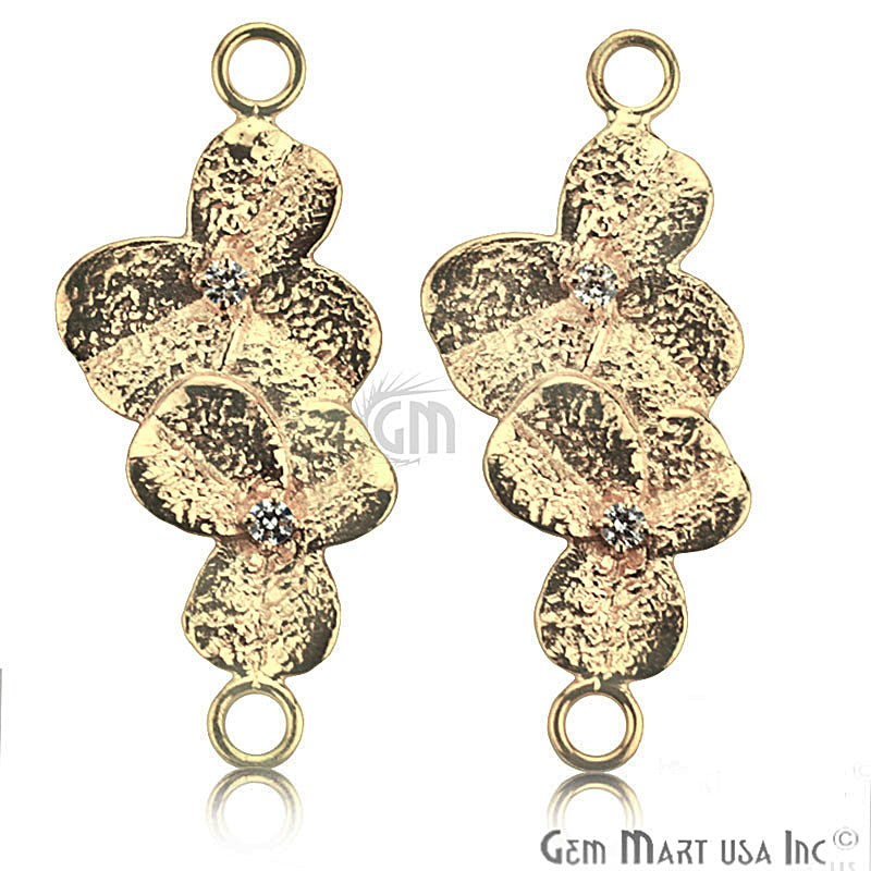 Cubic Zircon Pave 'Orchid Leaf' Gold Vermeil Charm for Bracelet Pendants & Necklace