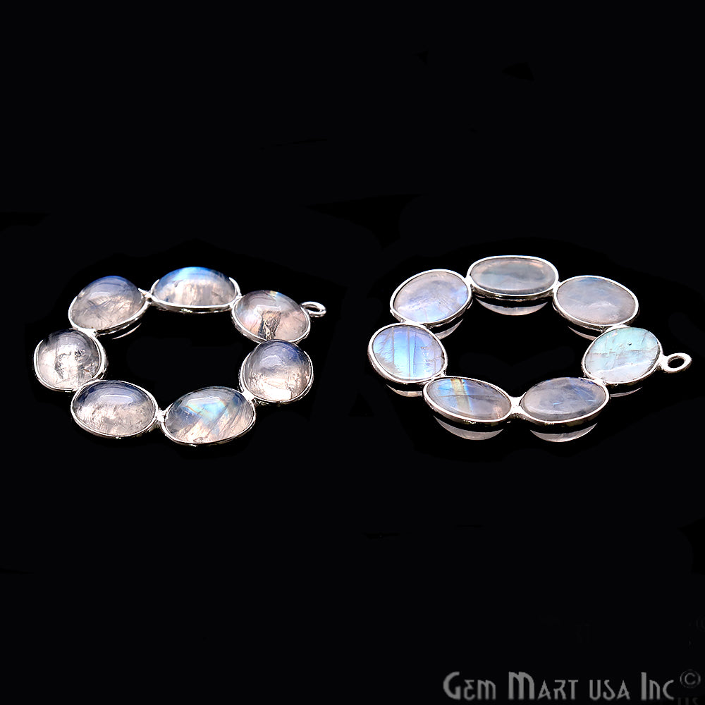 DIY Rainbow Moonstone 32x29mm Single Bail Chandelier Finding Component (Pick Your Metal)