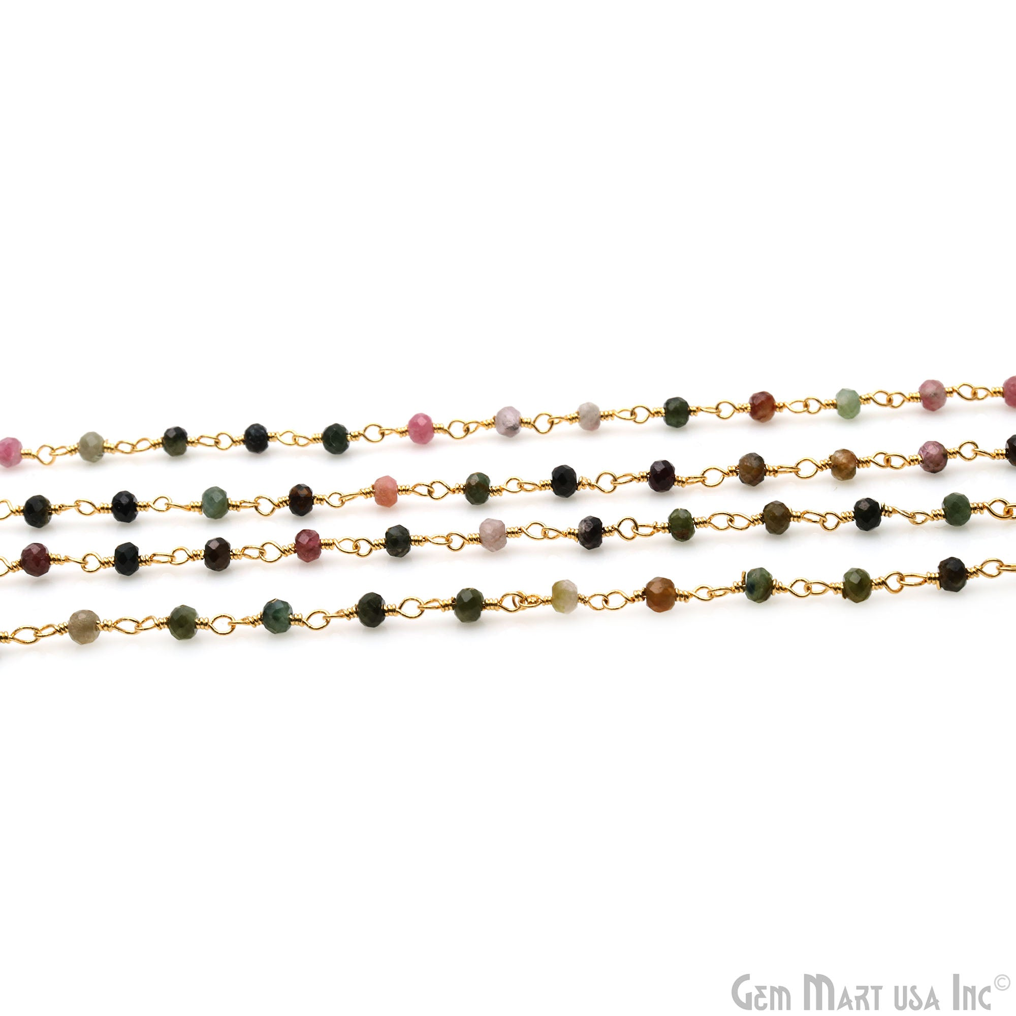 Tourmaline Faceted Beads Wire Wrapped 24k Gold Plated Wholesale Gemstone Rosary Chain 3 Feet Multi Tourmaline Rondelle Rosary Beaded Chain