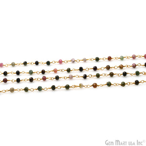 Tourmaline Gold Plated Wire Wrapped Beads Rosary Chain