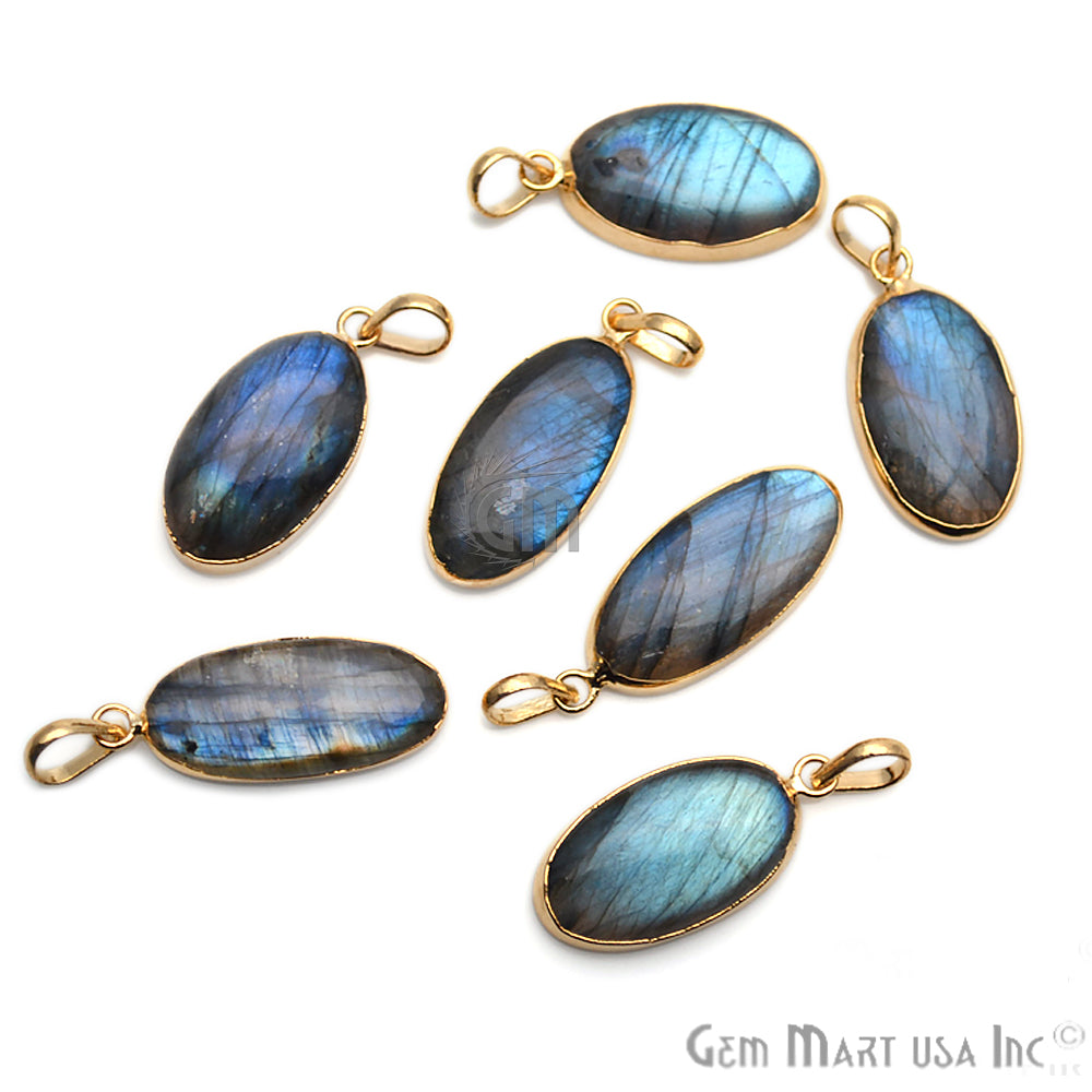 DIY Flashy Labradorite Gemstone 40x12mm Gold Edge Necklaces Pendant