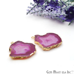 Agate Slice 35x32mm Organic  Gold Electroplated Gemstone Earring Connector 1 Pair - GemMartUSA