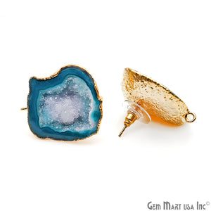DIY Agate Slice Geode Druzy 27x29mm Gold Electroplated Loop Connector Studs Earrings - GemMartUSA