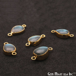 Labradorite Cabochon 20x10mm Pears Gold Electrolated Double Bail Gemstone Connector - GemMartUSA