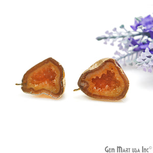DIY Agate Slice Geode Druzy 28x22mm Gold Electroplated Loop Connector Studs Earrings - GemMartUSA