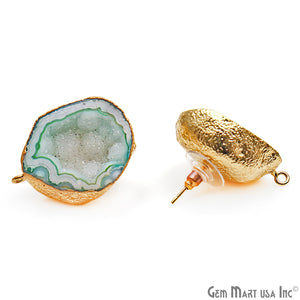 DIY Agate Slice Geode Druzy 32x24mm Gold Electroplated Loop Connector Studs Earrings - GemMartUSA