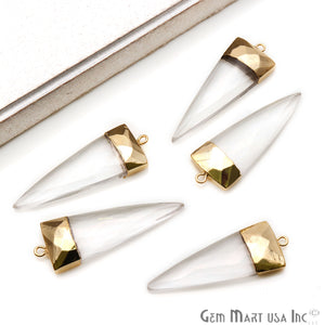 Gemstone Trillion 45x15mm Gold Electroplated Single Bail Connector (Pick Stone) - GemMartUSA