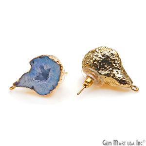 DIY Agate Slice Geode Druzy 17x30mm Gold Electroplated Loop Connector Studs Earrings - GemMartUSA