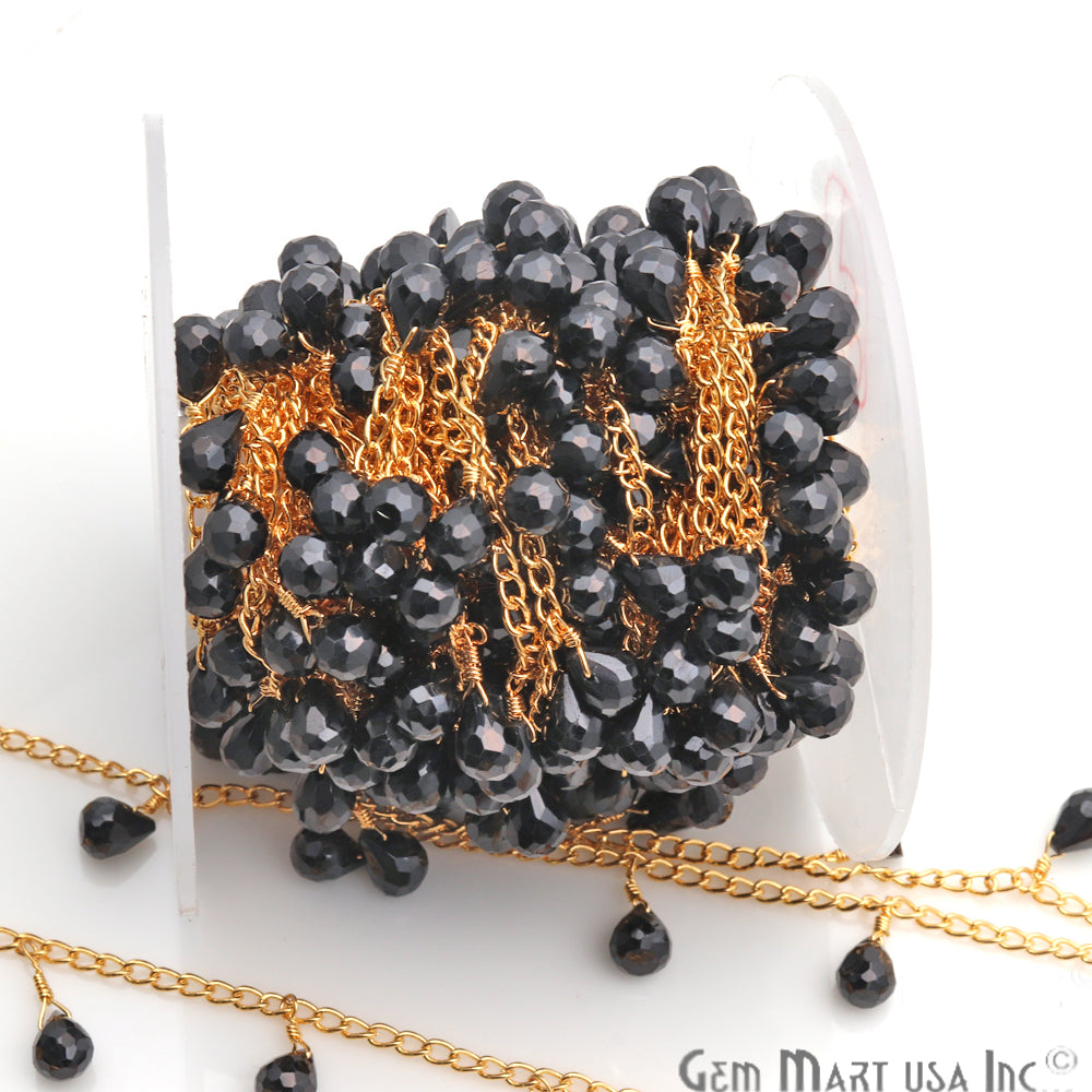 Black Spinel 8x6mm Faceted Dangle Drop Beaded Gold Plated Wire Wrapped Anglican Rosary Chain