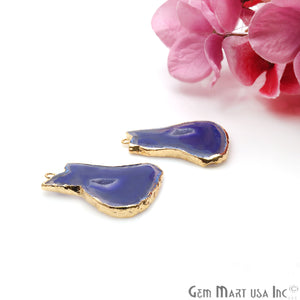 Agate Slice 33x21mm Organic Gold Electroplated Gemstone Earring Connector 1 Pair - GemMartUSA