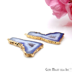 Agate Slice 45x25mm Organic  Gold Electroplated Gemstone Earring Connector 1 Pair - GemMartUSA