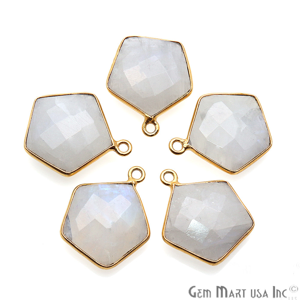 Rainbow Moonstone Pentagon Shape Gold Plated Single Bail 18x15mm Gemstone Connector