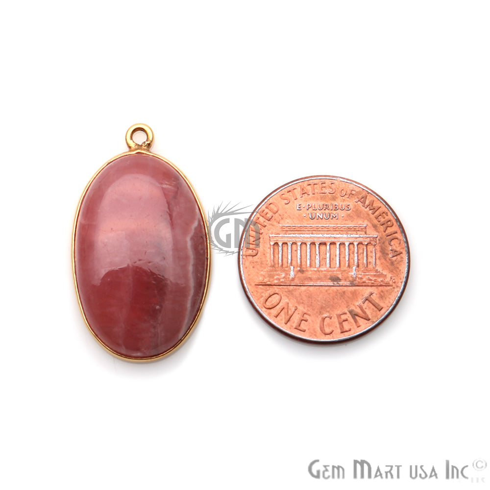 Rhodochrosite Cabochon 18x28mm Oval Gold Plated Single Bail Gemstone Connector