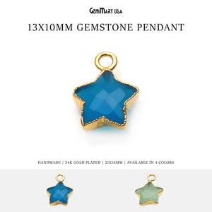 Gemstone Star Shape Gold Electroplated Pendant Connector