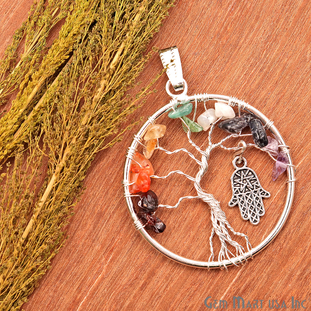 hamsa tree of life pendant
