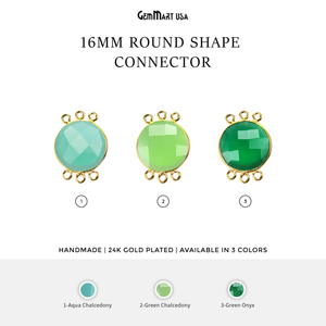 16mm Round 6 Bail Link Gold Bezel Gemstone Connector