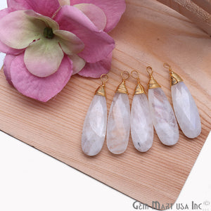 Rainbow Moonstone Pear 37x10mm Gold Wire Wrapped Gemstone Connector